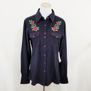 Cowgirl Up black western shirt red rose embroidery